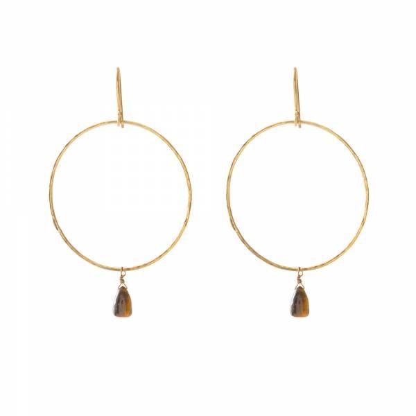 Oorbellen per paar Embrace Tiger Eye Gold Earrings-1