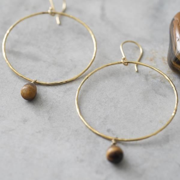 Oorbellen per paar Embrace Tiger Eye Gold Earrings-2