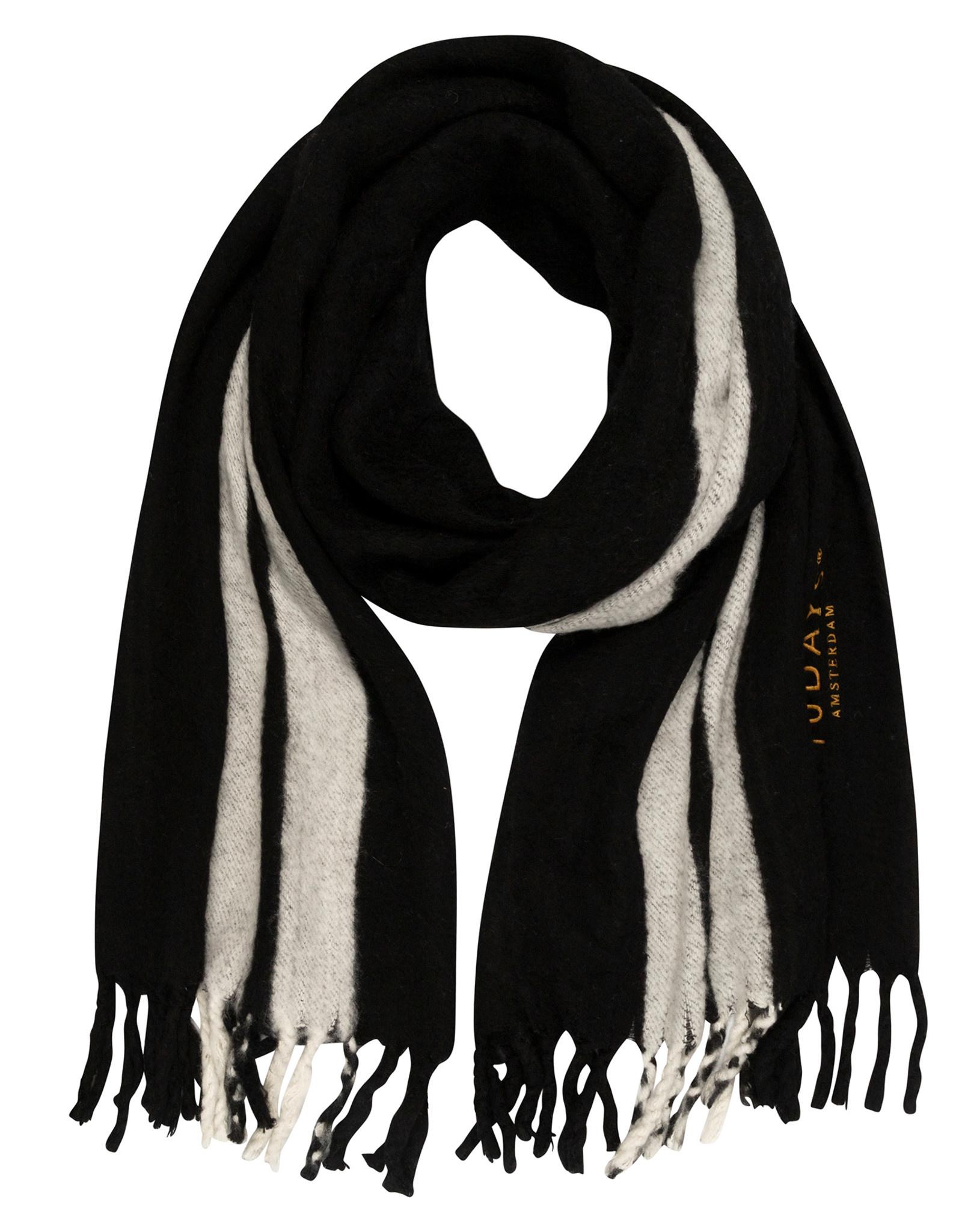Sjaal scarf two stripe black-1