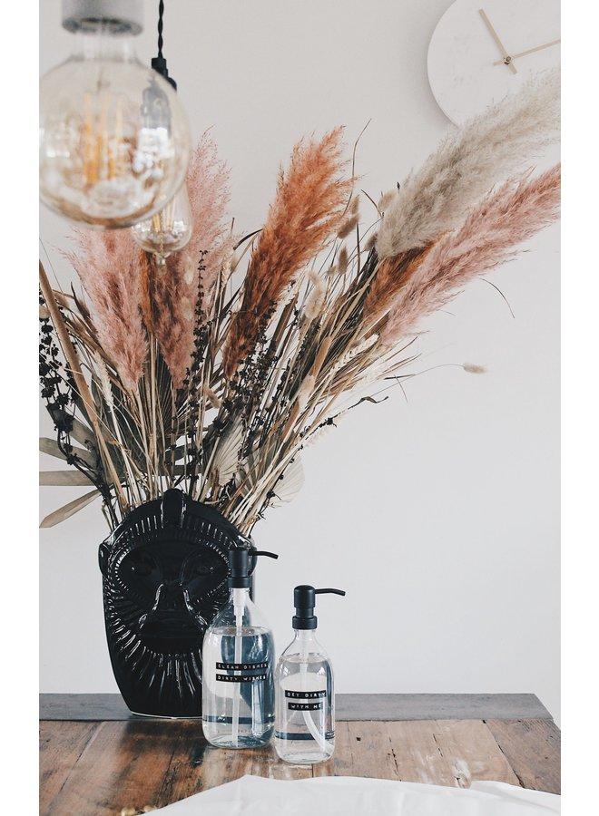 Afwasmiddel helder glas met zwart stalen pomp 500ml 'Get dirty with me'