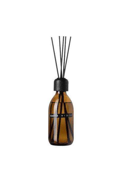 Geurstokjes bruin glas - zwart - 250ml 'Good vibes'