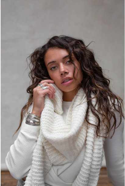 Sjaal Maeve Knitted off white
