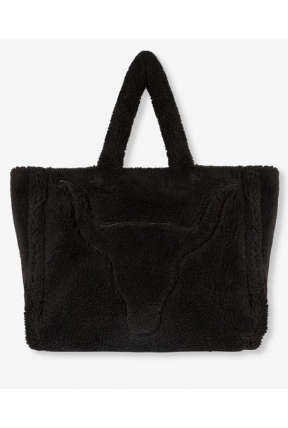 Tas knitted teddy bag black