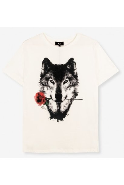 T-shirt knitted wolves soft white