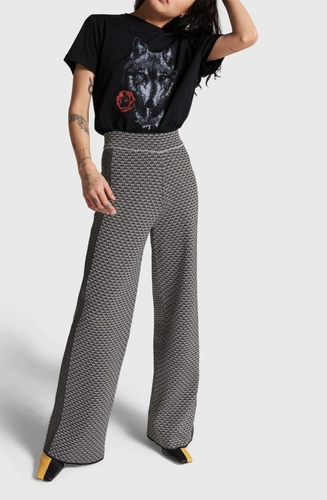 Broek knitted wide leg jacquard pants black-5