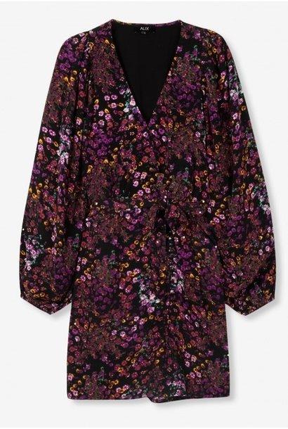 Jurk  woven ditsy flower fake wrap purple