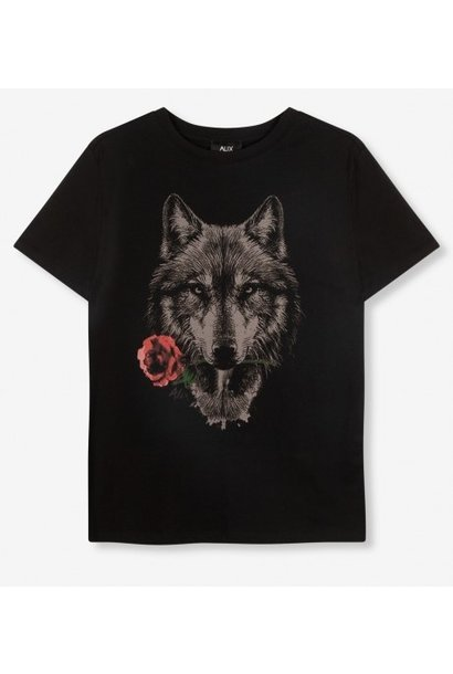 T-shirt knitted wolves black