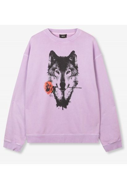 Trui knitted wolves lilac