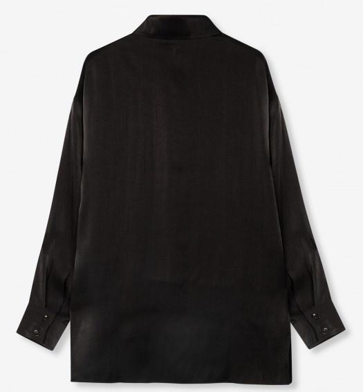 Blouse woven subtle shine black-4