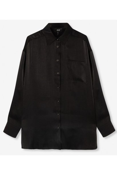 Blouse woven subtle shine black
