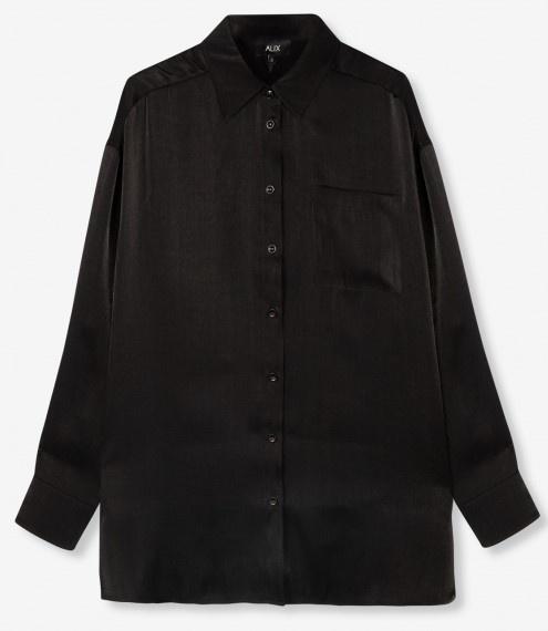 Blouse woven subtle shine black-1