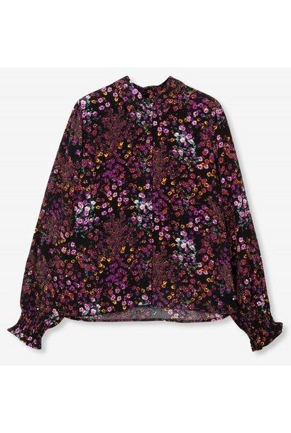 Blouse woven ditsy flower purple