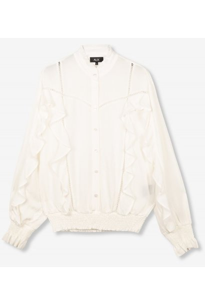 Blouse woven with tapes and ruffles soft white