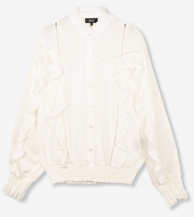 Blouse woven with tapes and ruffles soft white-1