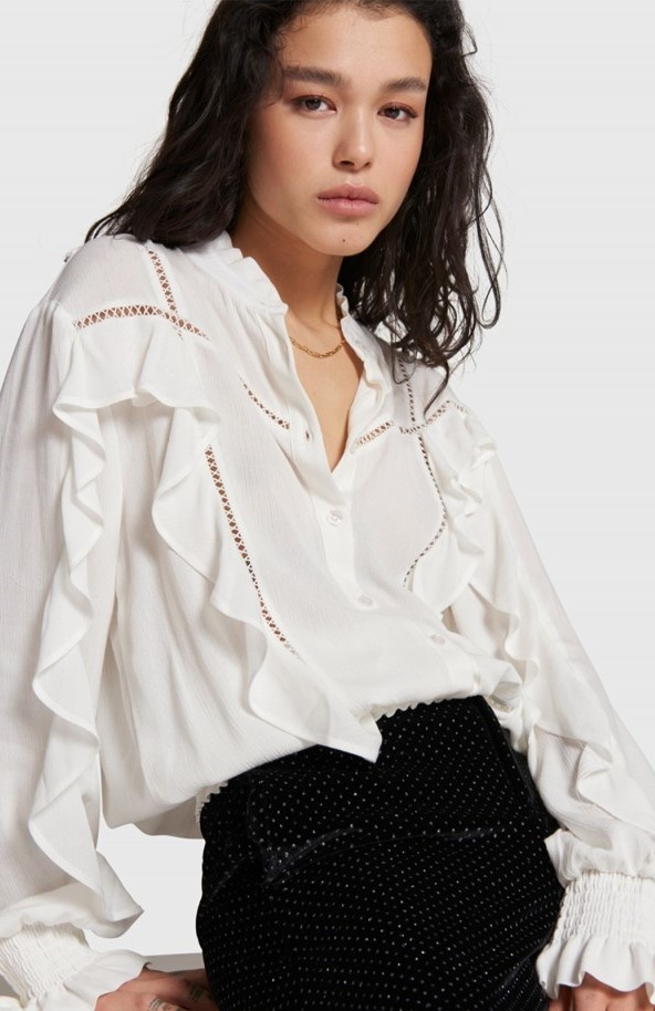 Blouse woven with tapes and ruffles soft white-3