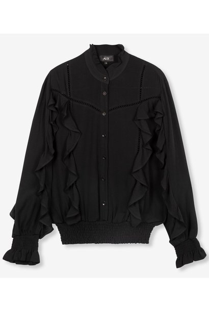 Blouse woven with tapes and ruffles black