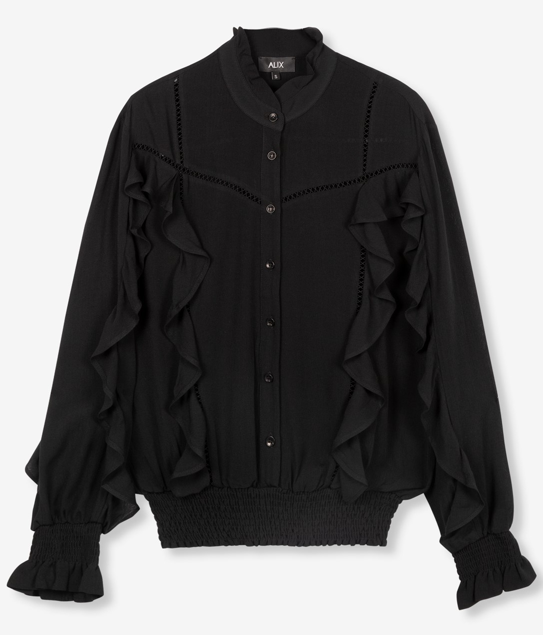 Blouse woven with tapes and ruffles black-1