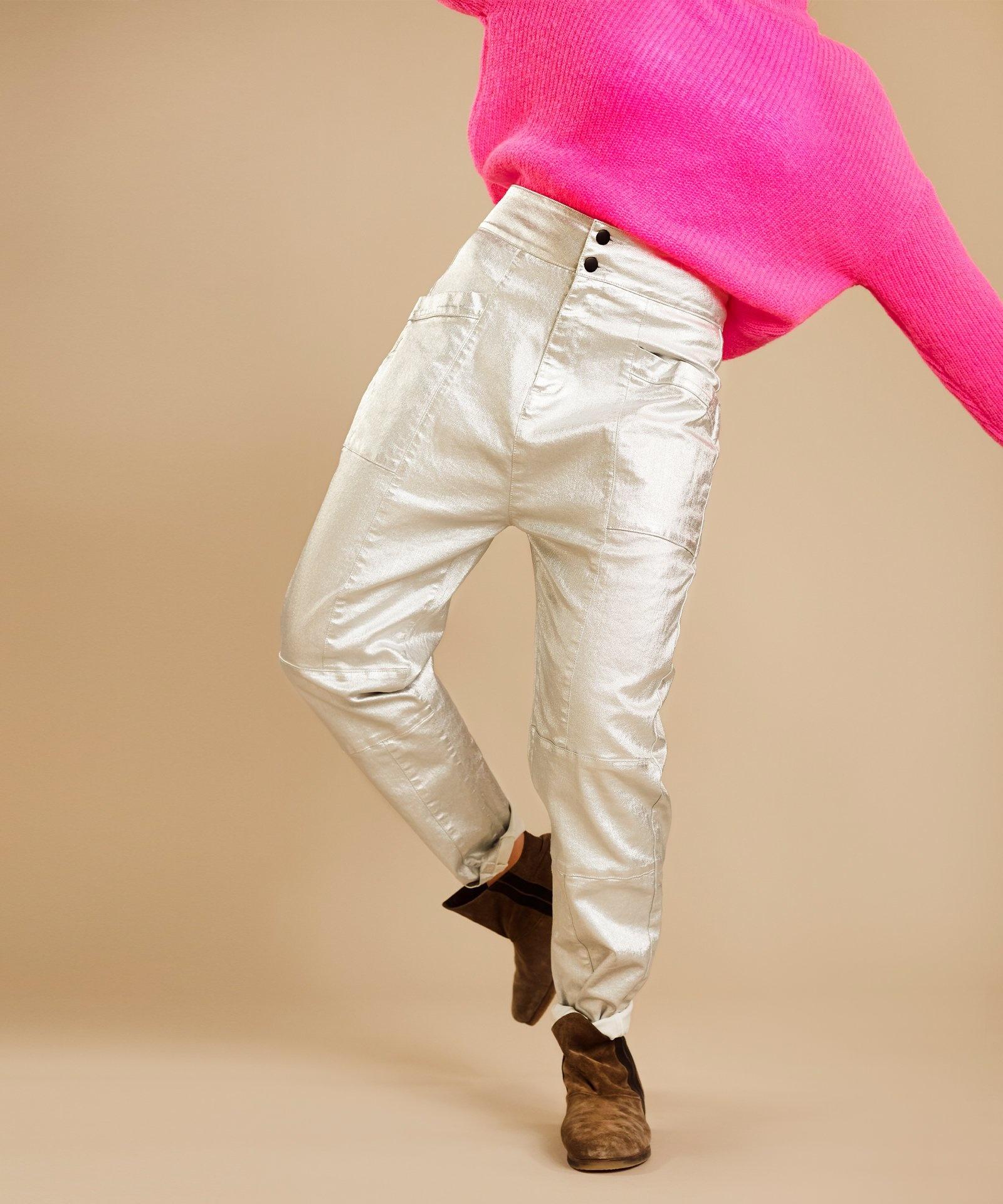 Broek high waist denim metallic silver-6