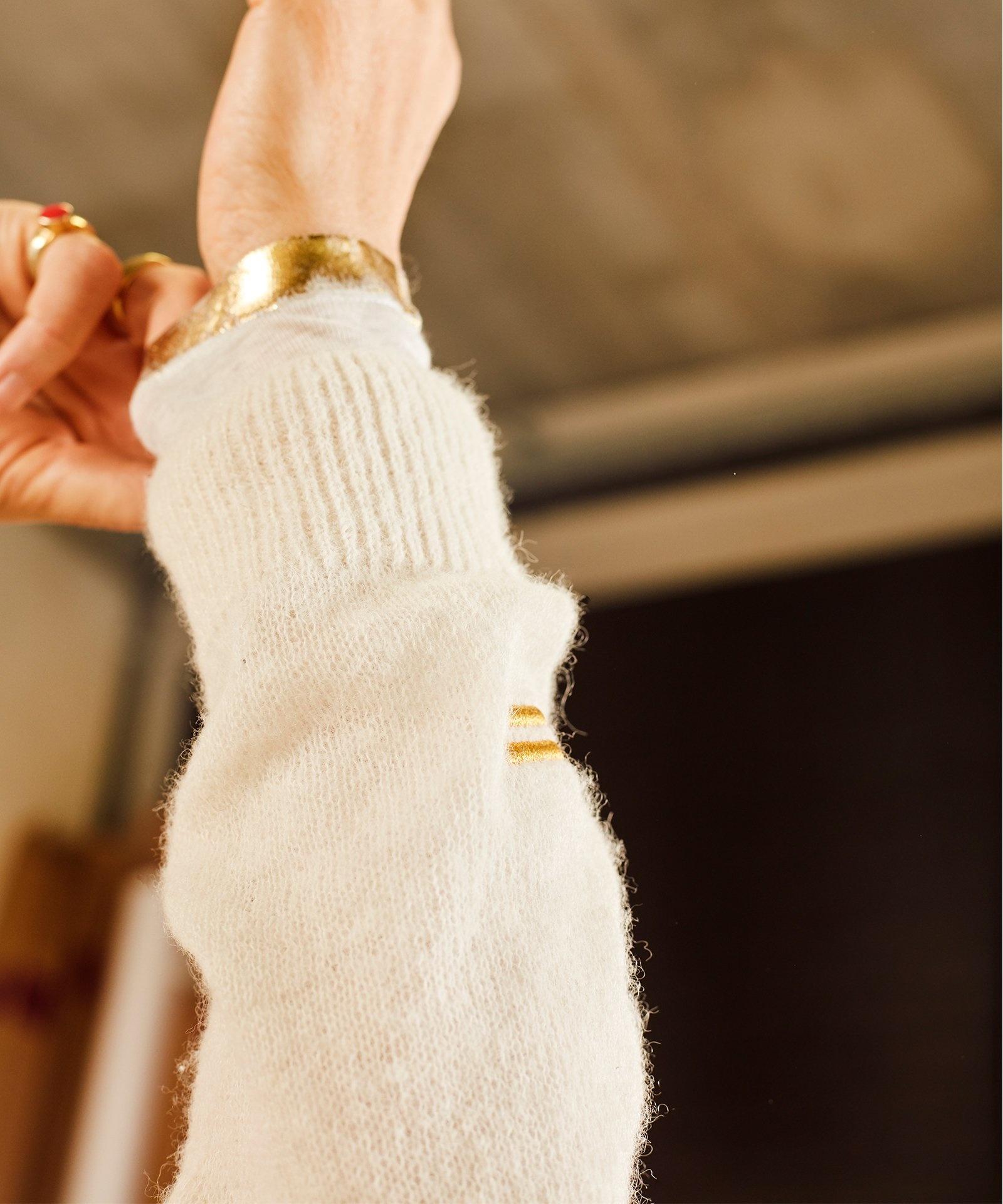 Trui thin v-neck soft white melee-6