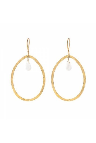 Oorbellen per paar Ellipse Moonstone Gold Earrings