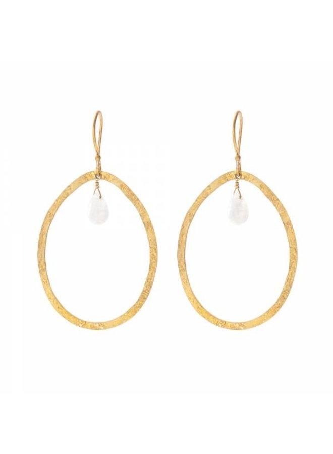 Oorbellen per paar Ellipse Moonstone Gold Earrings