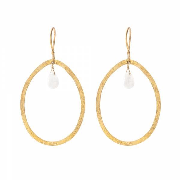 Oorbellen per paar Ellipse Moonstone Gold Earrings-1