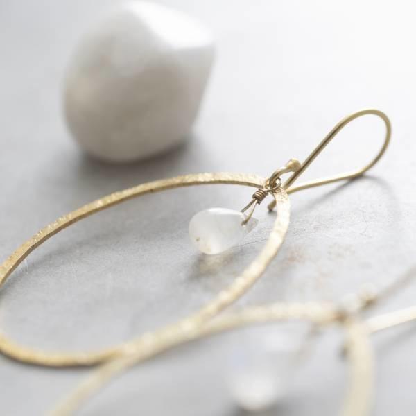Oorbellen per paar Ellipse Moonstone Gold Earrings-2