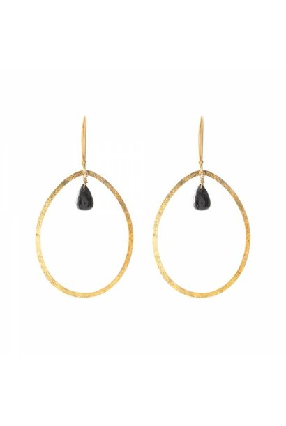 Oorbellen per paar Ellipse Black Onyx Gold Earrings