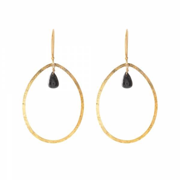 Oorbellen per paar Ellipse Black Onyx Gold Earrings-1