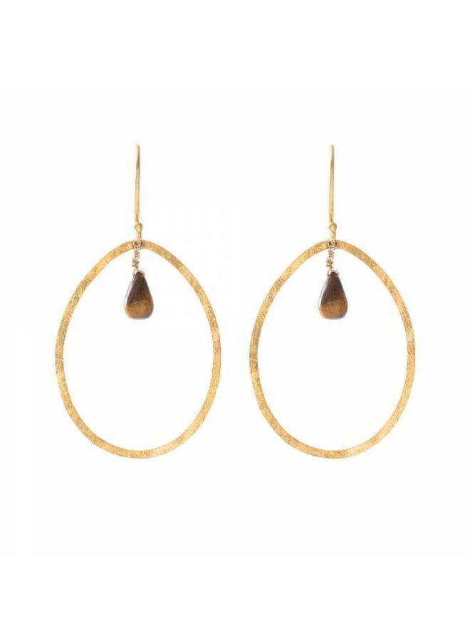 Oorbellen per paar  Ellipse Tiger Eye Gold Earrings