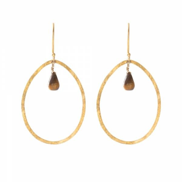 Oorbellen per paar  Ellipse Tiger Eye Gold Earrings-1