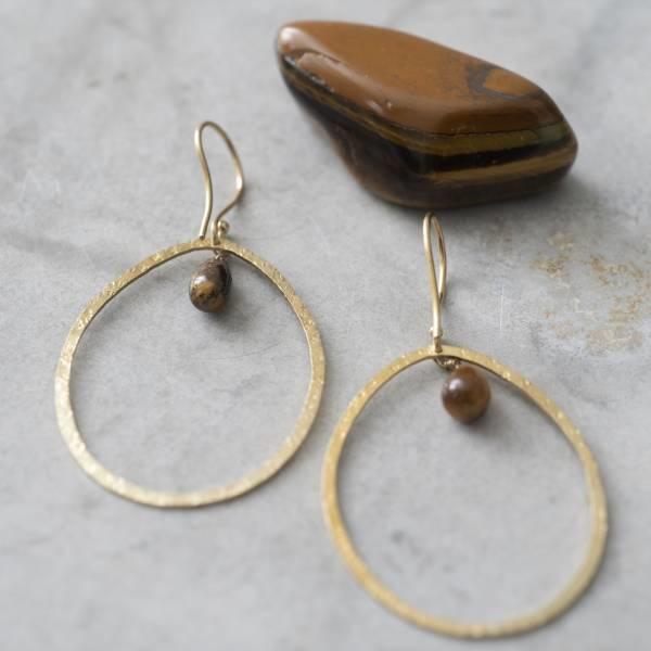 Oorbellen per paar  Ellipse Tiger Eye Gold Earrings-2