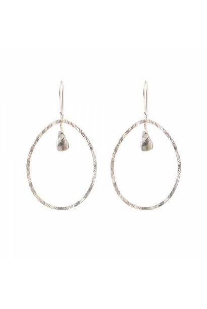 Oorbellen per paar Ellipse Labradorite Silver Earrings