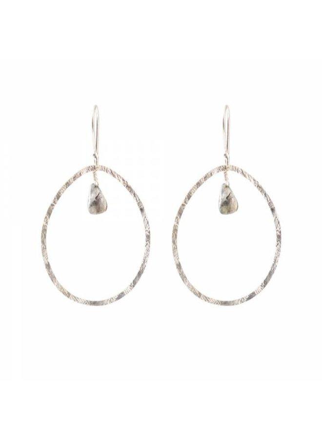 Oorbellen per paar Ellipse Labradorite Silver Earrings