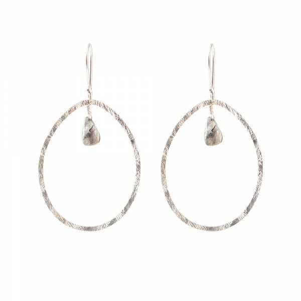 Oorbellen per paar Ellipse Labradorite Silver Earrings-1