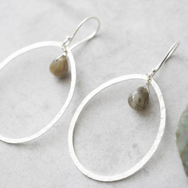 Oorbellen per paar Ellipse Labradorite Silver Earrings-2