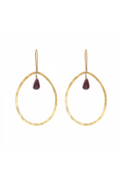 Oorbellen per paar Ellipse Garnet Gold Earrings
