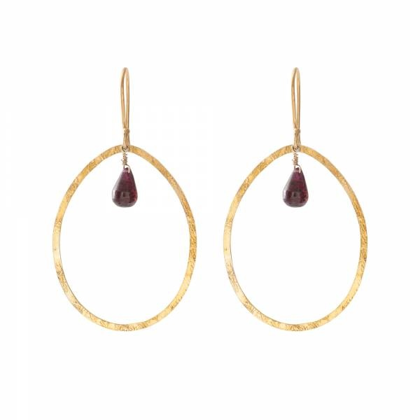 Oorbellen per paar Ellipse Garnet Gold Earrings-1
