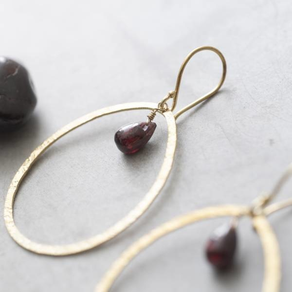 Oorbellen per paar Ellipse Garnet Gold Earrings-2