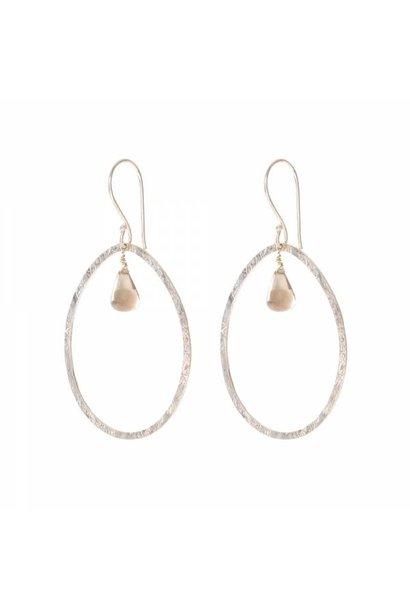 Oorbellen per paar Ellipse Smokey Quartz Silver Earrings