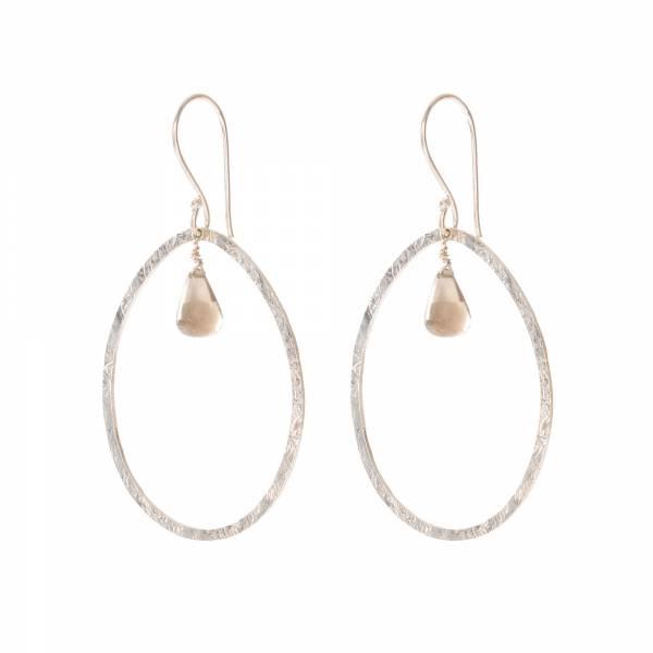 Oorbellen per paar Ellipse Smokey Quartz Silver Earrings-1
