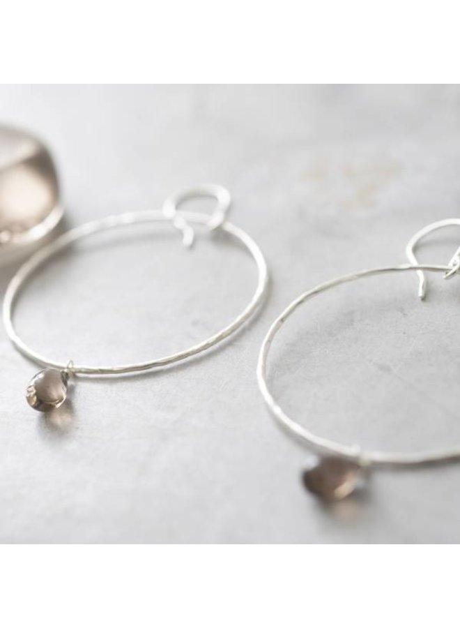 Oorbellen per paar Embrace Smokey Quartz Silver Earrings