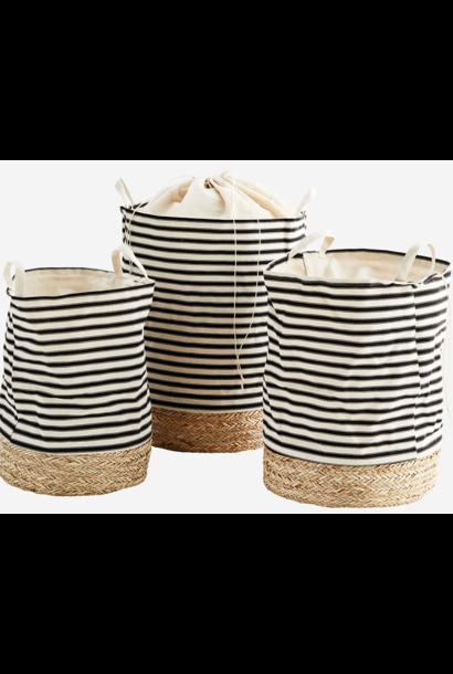 Mand straw base 40x55 Stripe