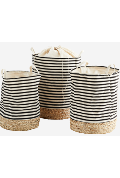 Mand straw base 47x60 Stripe