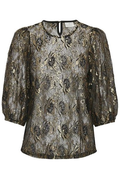 Blouse KAwikkie Lace Gold/black Lace Fabric