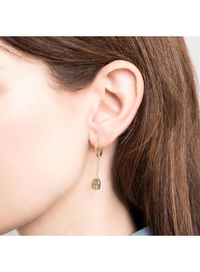 Oorbellen per stuk Birdcage Sterling Silver GoldPlated Hoop Earring