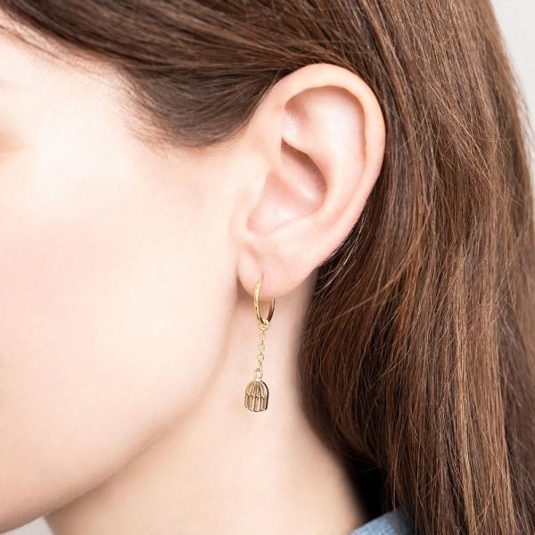 Oorbellen per stuk Birdcage Sterling Silver GoldPlated Hoop Earring-2