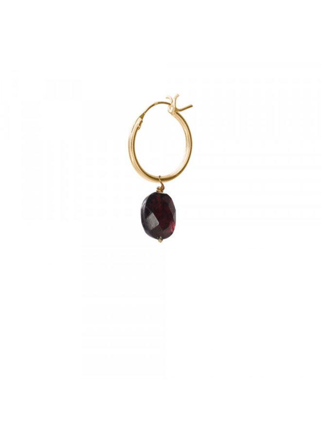 Oorbel per stuk Garnet Gold Hoop Earring