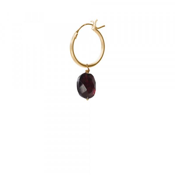 Oorbel per stuk Garnet Gold Hoop Earring-1