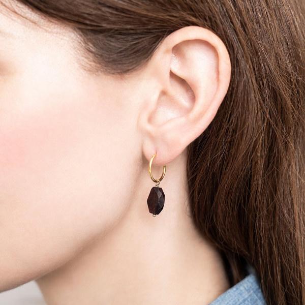 Oorbel per stuk Garnet Gold Hoop Earring-2